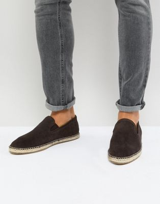 Frank Wright Wide Fit Slip On Espadrilles In Brown Suede