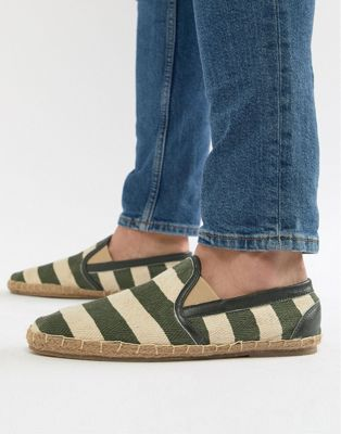 Frank Wright Wide Fit Stripe Espadrilles In Khaki