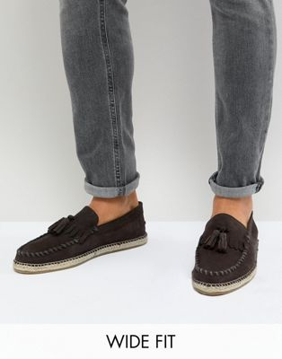 Frank Wright Wide Fit Tassel Espadrilles In Brown Suede