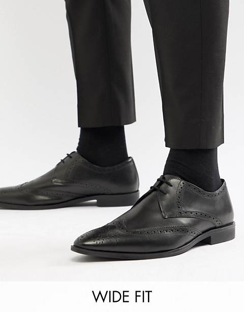 Frank Wright Wide Fit Wing Tip Brogue Shoes In Black Leather