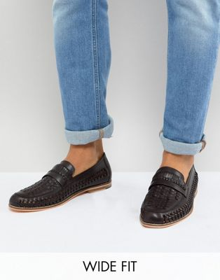 Frank Wright Wide Fit Woven Loafers In Brown Leather