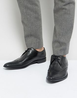 Frank Wright Wing Tip Brogue Shoes In Black Leather