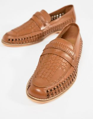 Frank Wright Woven Loafers In Tan Leather