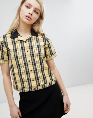 Fred Perry Amy Winehouse Foundation Tartan Check Bowling Shirt
