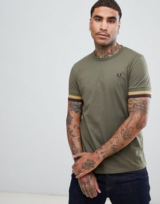 Fred Perry bold tipped t-shirt in light khaki