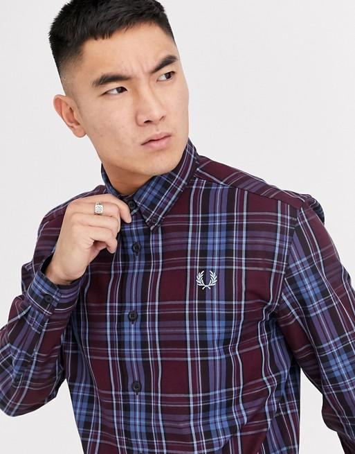 Fred Perry – Burgundowa koszula w kratkę z kołnierzykiem typu button down
