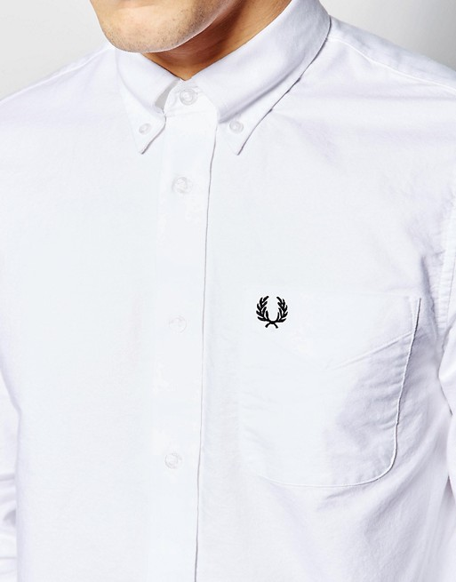 Perry slim Fred fit bianca Camicia Fred Perry Oxford 8Xd8pq