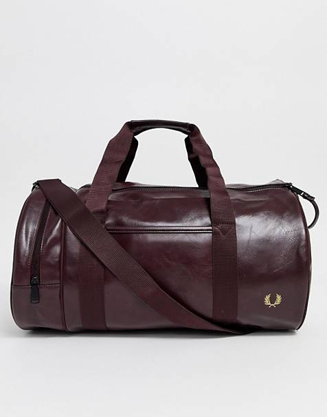 Fred Perry classic barrel bag in burgundy
