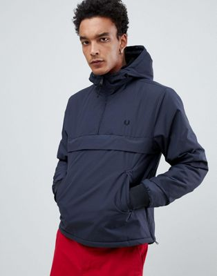 Fred Perry half zip overhead brentham jacket in dark grey