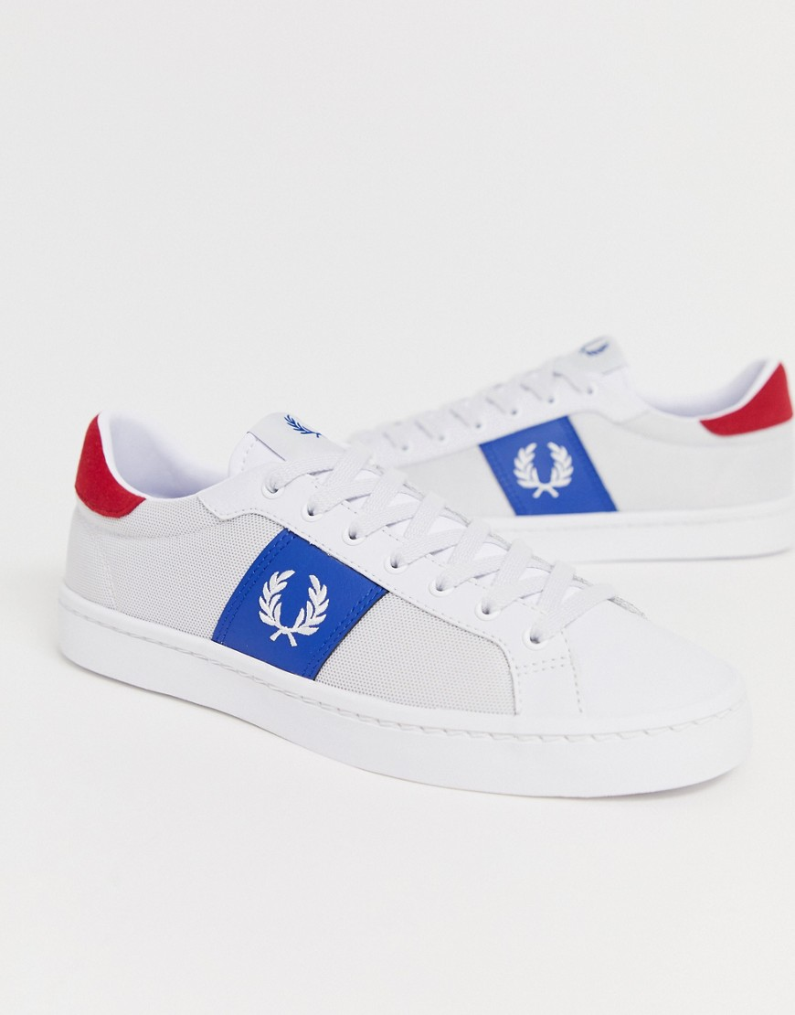 Fred Perry Lawn Leren mesh sneakers in wit