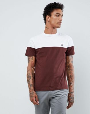 Fred Perry logo paneled t-shirt in burgundy/white