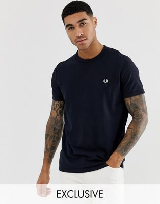 Fred Perry pique logo crew neck t-shirt in navy