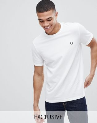 Fred Perry pique logo crew neck t-shirt in white