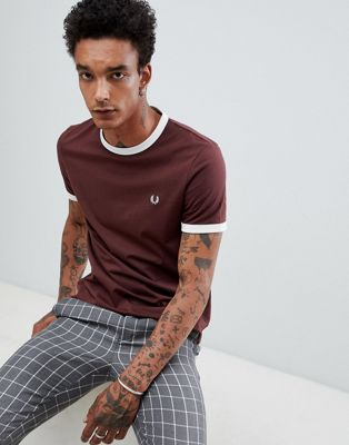Fred Perry ringer t-shirt in burgundy