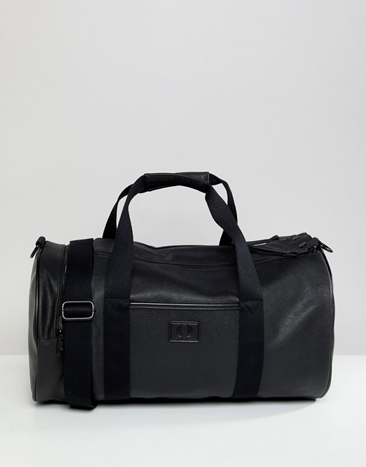Fred Perry Saffiano barrel bag in black
