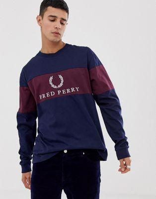 Fred Perry - Sports Authentic - Sweat-shirt à empiècement contrastant - Bleu marine