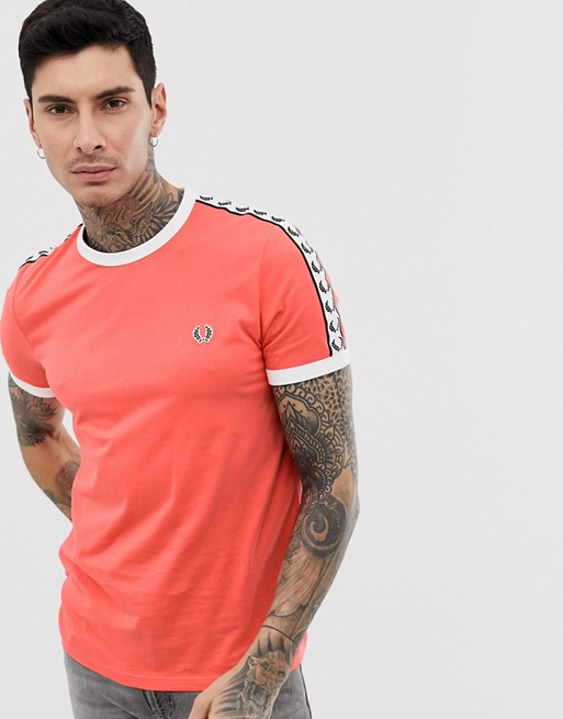 Fred Perry taped ringer t-shirt in pink