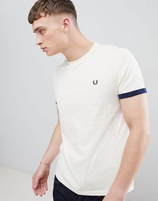Fred Perry tipped cuff t-shirt in off white