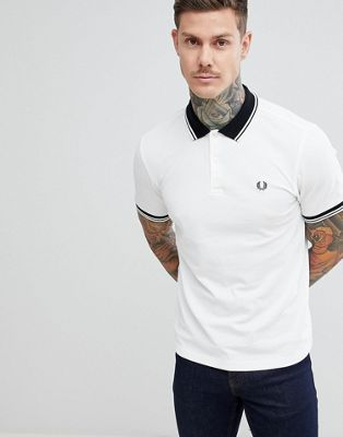 Image 1 of Fred Perry tipped polo in white