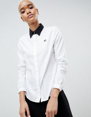 Fred Perry Tonal Check Detail Shirt with Contrast Collar
