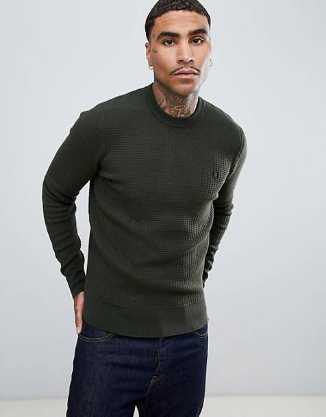 Fred Perry waffle texture crew neck knitted sweater in khaki