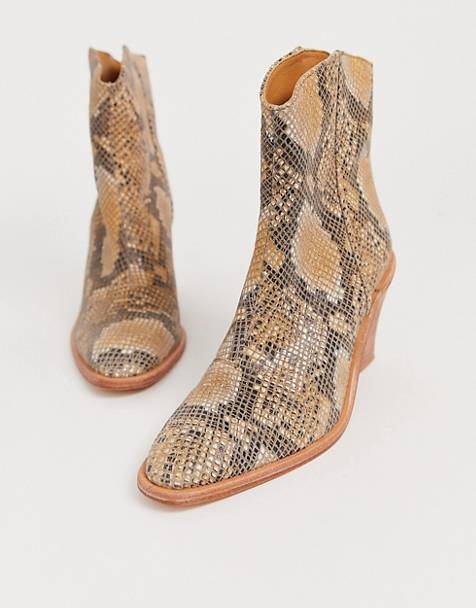 Free People barclay snake print western boot