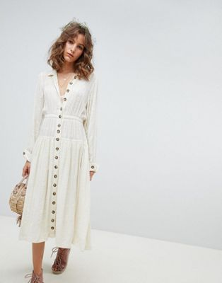 Free People diamond head embroidered western midi dress