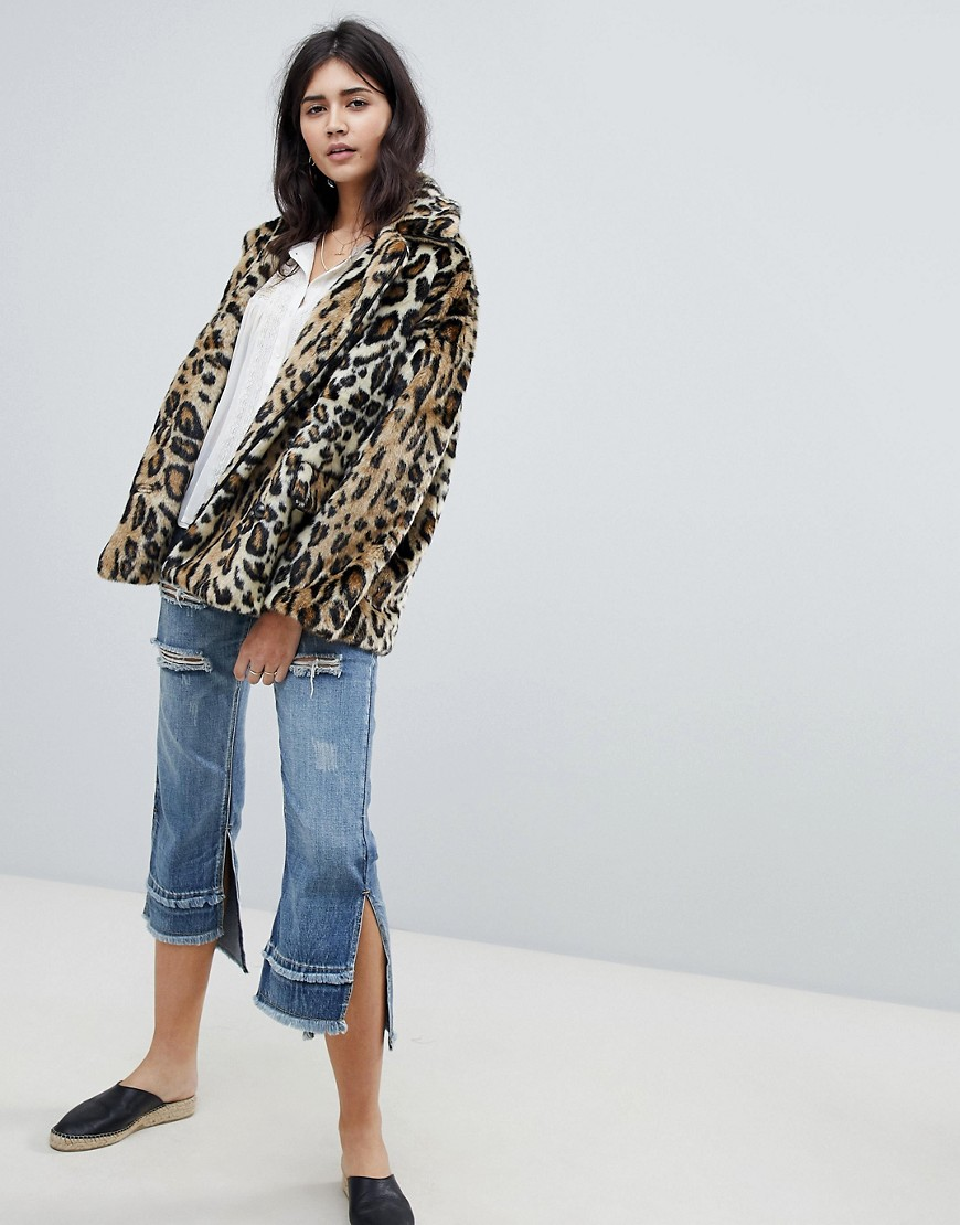 Free People Faux Fur Leopard Jacket by Free People
