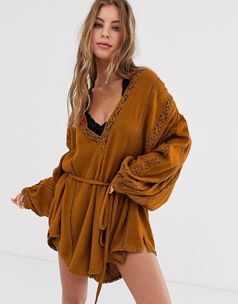 Free People I Mean It embroidered v-neck romper