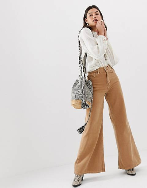 Free People – Jeans mit hoher Taille und weitem Bein