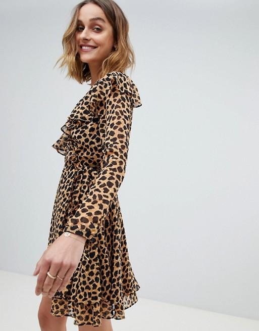 Image 1 of Free People Leopard Print Frenchie Mini Wrap Dress