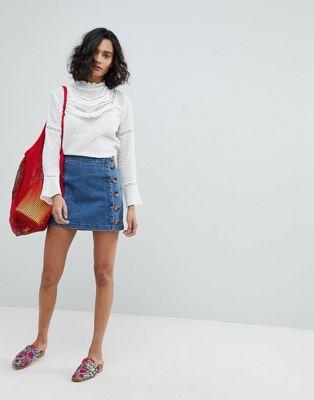 Bild 1 von Free People – Little Daisies – Jeans-Minirock