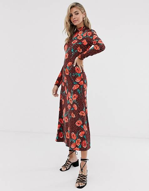 Free People retro romance floral midi dress
