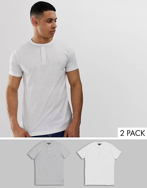 French Connection 2 pack grandad collar t-shirts