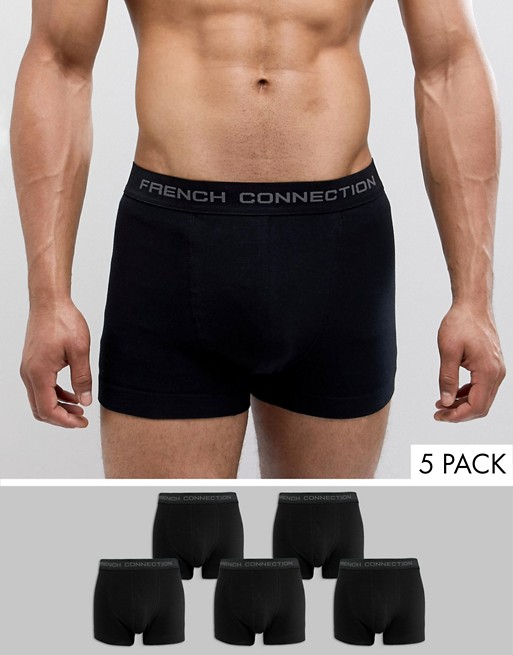 Image 1 of French Connection 5 Pack Black Boxers