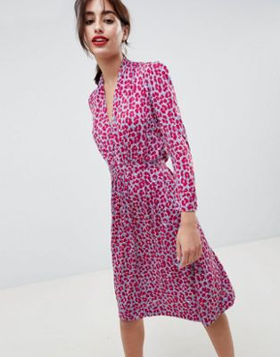 French Connection Animal Print Tie Waist Dress