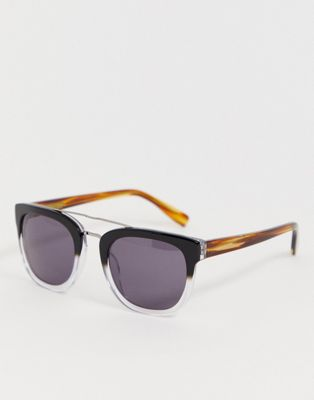 Image 1 of French Connection brow bar detail retro sunglasses