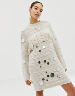 55148e1a58ed13 ... French Connection embellished and fringe sweater dress better 326b0  cd86a ...