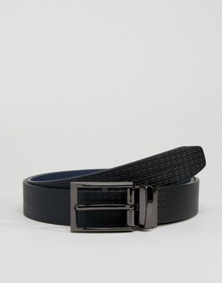 French Connection Geo Embossed Belt In Black