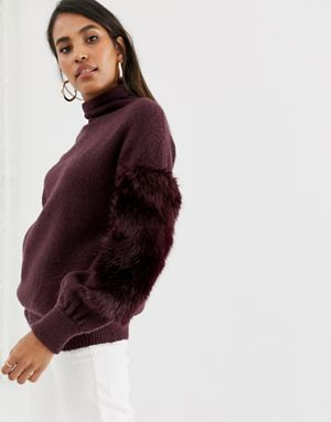 b27f73be284f3c ... French Connection high neck faux fur jumper half off 67bbd 690d9  Avis  Embellished Knitted Jumper Sale French Connection Usa ...