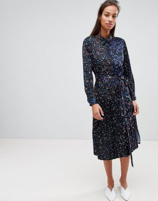 French Connection Midi Shirt Dress in Obine Floral