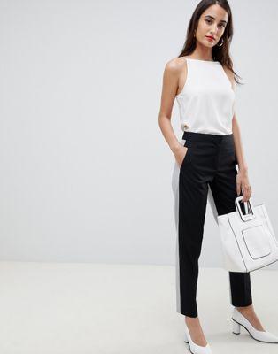 French Connection - Pantalon color block ajusté