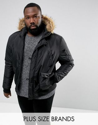 Image 1 of French Connection PLUS Short Padded Parka with Faux Fur Hood