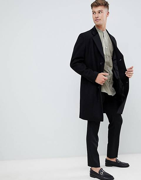 French Connection premium wool blend overcoat with velvet collar