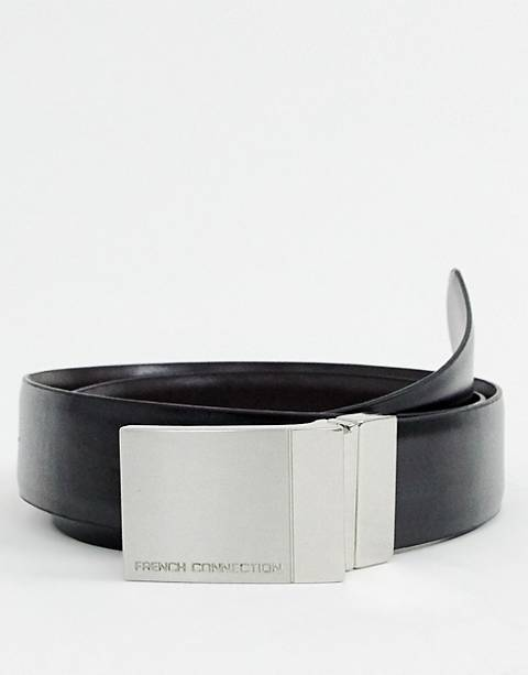 French Connection Reversible Leather Plaque Belt