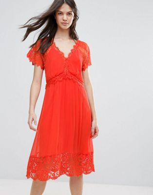 French Connection Sienna Lace Midi Dress