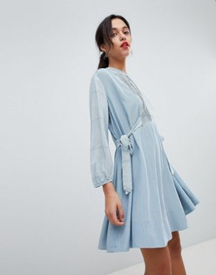 French Connection Tencel Stripe Shirt Dress