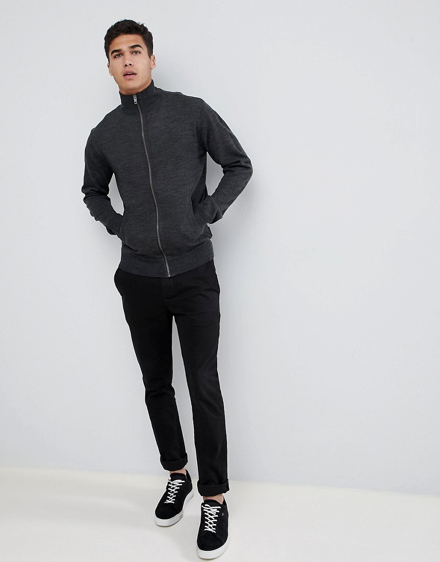 French Connection Zip Through Funnel Neck Fine Gauge Sweater by French Connection