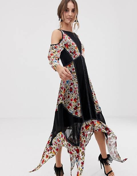 Frock And Frill Floral Printed Velvet Hanky Hem Dress With Cold Shoulder