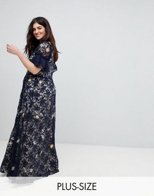 Frock And Frill Plus Allover Floral Embroidered Lace Maxi Dress With Flutter Sleeve